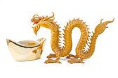 Chinese gold ingot and GoldenDragon — Zdjęcie stockowe