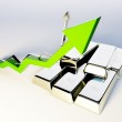 3d render image of silver bars with growing graph — Stock Photo #50291681