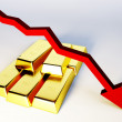 3d render image of golden bars with declining graph — Stock Photo #50291743