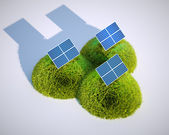 3d render image of stylized solar power plant with grass hills — Stock Photo