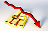 3d render image of golden bars with declining graph — Stock Photo