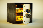 3d photo realistic vivid image of safe with golden bars — Stock Photo