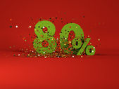 3d image of spring 80 percent discount symbol on red background — Stock Photo