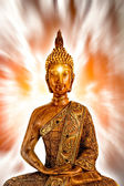 Golden Buddha meditating — Stock Photo