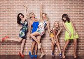Group of cheerful beautiful woman on brick background. Bachelorette. — Stock Photo
