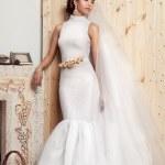 Beauty portrait of bride on wood background — Stock Photo