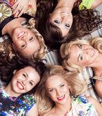 Group of cheerful beautiful woman. Bachelorette. — Stock Photo
