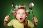 Little girl housewife — Stock Photo