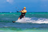 Young kitesurfer on sea background Extreme Sport Kitesurfing — Stok fotoğraf