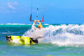 Young kitesurfer on sea background Extreme Sport Kitesurfing — Photo