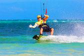 Young smiing  kitesurfer on sea background Extreme Sport Kitesur — Stock fotografie