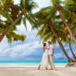 Young loving couple on tropical beach with palm trees, wedding o — Stock Photo #45119673