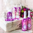 Wedding accessories for the morning of the bride in pink . Weddi — Stock Photo