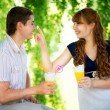 Beautiful Young Couple Having Fun. Picnic in Countryside. Happy — Stock Photo