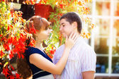 Outdoor portrait of young sensual couple. Love and kiss. Summer — Stock Photo