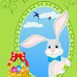 Easter bunny and basket full of colored eggs — Stock Vector