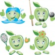 Cartoon apple doing Sport and Leisure games — Stock Vector