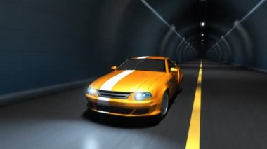 Sports car racing in a tunnel — Stock Video