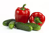 Sweet red bell pepper and cucumber — Foto Stock