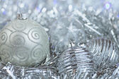 Christmas decorations. New Year ball in tinsel and spangles. — Foto Stock