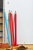Notebook with colored pencils and autumn leaves on a wooden surf — Stock fotografie