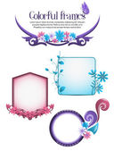 Colorful decorative floral frames — Stock Vector