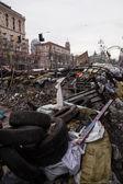 Barricadas em euromaidan em kiev, ucrânia — Fotografia Stock