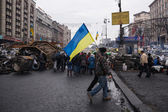 Flag of Ukraine at Euromaidan in Kiev — Stock Photo