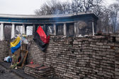 Burned stadium near barricades on Euromaidan, Kyiv, Ukraine — Stock Photo