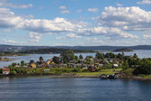 Island with houses in Oslo fjord — ストック写真