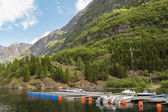 Harbour with boats on Norway fjord — Stock Photo