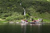 Village on the Sognefjord in Norway — Stockfoto