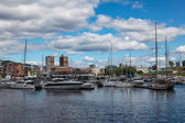 Yachts and boats in the harbor Oslo, Norway — Stock Photo
