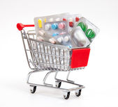 Shopping cart with medicines — Stock Photo