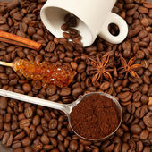 Ingredients for coffee beverage — Stock Photo