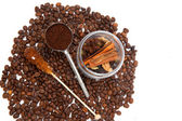 Glass can of seasonings with coffee beans — Stock Photo