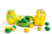 Two funny yellow chickens — Stock Photo