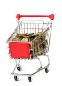 The shopping cart with yellow coins — Stock Photo