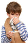 The boy wipes nose — Stock Photo