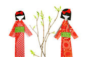 Two japanese paper doll — Stock Photo