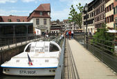 The holiday cruiser in dock in Petite-France, Strasburg — Stock Photo