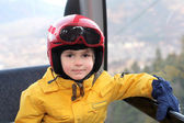 Boy in cable car — Stockfoto