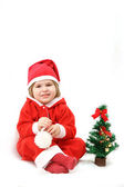 Small Santa with a fur-tree — Stock Photo