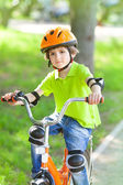 Boy with bicycle — Stock Photo