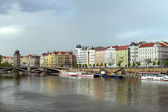 Boats on Vltava river — 图库照片