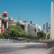 Argentina Buenos Aires with landmark Obelisk with traffic at rush hour time lapse — Stock Video #42130069