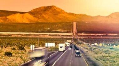 Cars on straight highway near Las Vegas USA time lapse — Stock Video
