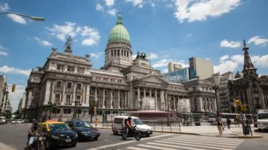 Argentina Buenos Aires Palacio Del Congreso Time Lapse at day — Stock Video