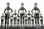 Army of cyborg women in a row ready for invasion — Stock Photo