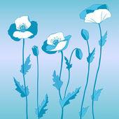 Poppy in blue style — Stock Vector